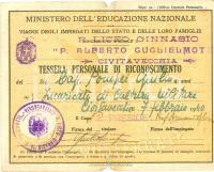1940 CIVITAVECCHIA (RM) Tessera ferroviaria Giulio POMPEI R. Liceo GUGLIELMOTTI
