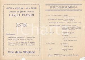 1928 PARMA R. Conservatorio Concerto pianista Fabio FANO Violinista Carlo FLESCH