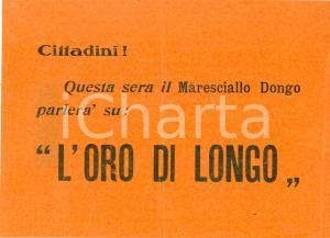 1950 ca PROPAGANDA ANTICOMUNISTA Luigi LONGO oro di DONGO *Volantino