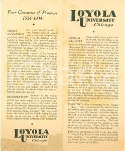 1934 CHICAGO (USA) Quarto centenario LOYOLA University Gesuiti *Opuscolo