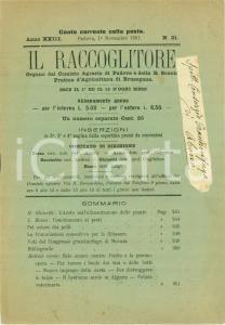 1901 PADOVA Il raccoglitore R Scuola Agraria BRUSEGANA Colera dei polli
