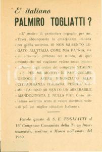 1950 ca PROPAGANDA POLITICA Palmiro TOGLIATTI non è un vero italiano *Volantino