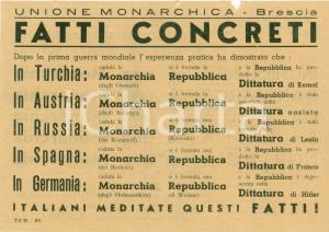 1950 ca BRESCIA Unione Monarchica Repubblica provoca DITTATURA *Volantino