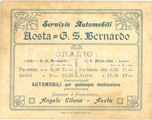 1920 ca AOSTA Angelo ELLENA Servizi automobili per GRAN SAN BERNARDO *Biglietto