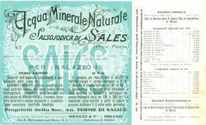 1922 SALICE TERME (PV) Acqua minerale salsojodica SALES Etichetta