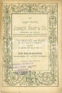 1885 FRANKFURT AM MAIN Catalogo antiquario JOSEPH BAER & Co. Scultura pittura