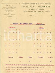 1920 ca TORINO Fucinatori F.lli FERRERI Prova OLIVETTI scrittura