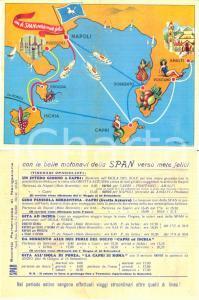 1950 NAPOLI Biglietto SPAN Società Partenopea di Navigazione ILLUSTRATO
