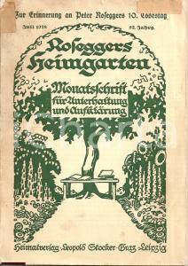 1928 ROSEGGERS Heimgarten ILLUSTRATO Kathreiners Kneipp