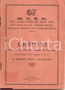 1929 LEZIONI ARTE MILITARE Carmelo Manna BELLICA