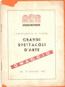 1945 MILANO Teatro Nuovo Programma della Compagnia di prosa