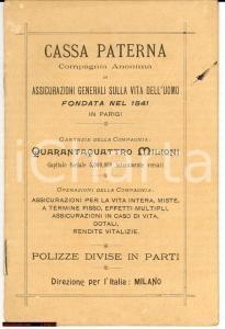 1900 MILANO Cassa paterna Assicurazioni Generali Vita