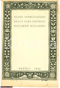 1922 NAPOLI Nuove pubblicazioni ed. Riccardo RICCIARDI