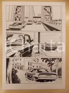1990 ca FUMETTO Luciano BERNASCONI Auto sportiva su ponte *Tavola originale LUBE