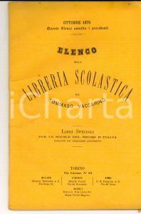 1875 TORINO Libreria scolastica Tommaso VACCARINO Catalogo libri speciali