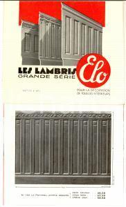 1930 PARIS Société Anonyme ELO - Les lambris *Opuscolo ILLUSTRATO