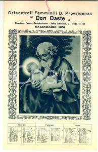 1931 GENOVA Calendario Orfanotrofi femminili Divina Provvidenza DON DASTE