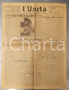 1946 L'UNITA' Centrale del complotto fascista a TERNI *Giornale