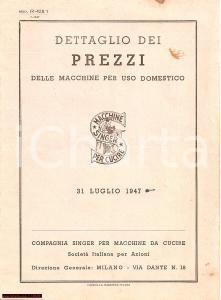 1947 MILANO Dettaglio prezzi Macchine per cucire SINGER