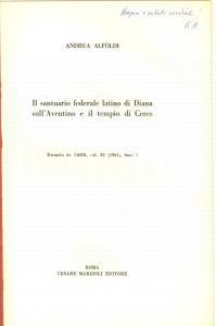 1961 Andreas ALFOLDI Santuario di Diana sull'Aventino