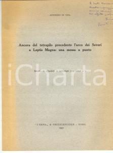 1977 Antonino DI VITA Tetrapilo precedente LEPTIS MAGNA