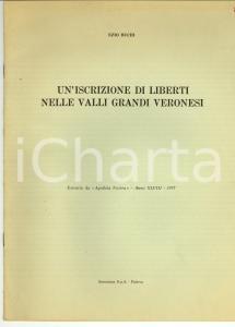 1977 Ezio BUCHI Iscrizione di liberti valli di VERONA