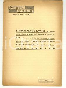 1916 Roberto PARIBENI Imperialismo latino CROCE ROSSA