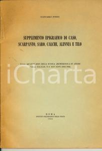 1965 Giancarlo SUSINI Supplemento epigrafico SCARPANTI