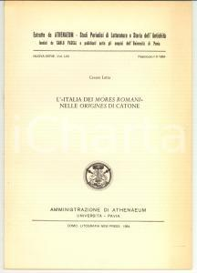 1984 Cesare LETTA L'Italia dei mores romani Autografo