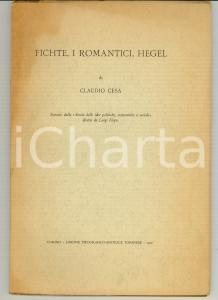 1970 TORINO Claudio CESA Fichte, i romantici, Hegel