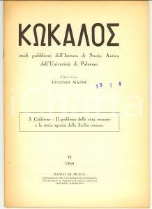 1960 Salvatore CALDERONE Storia agraria SICILIA romana