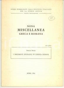 1984 Angelo RUSSI Documenti epigrafici COSENZA romana