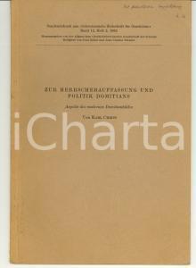 1962 Karl CHRIST Zur Politik Domitians AUTOGRAPH