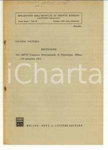 1965 MILANO Edoardo VOLTERRA Congresso di papirologia
