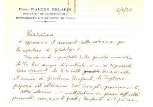 1970 ROMA Walter BELARDI raccomanda Giuliano BONFANTE Autografo