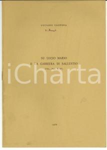 1968 Luciano CANFORA Su Lucio Mario e la carriera di Sallustio *Autografo