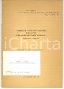1973 Carlo VENTURINI Libertas e dominatio nell'opera di Sallustio *Autografo