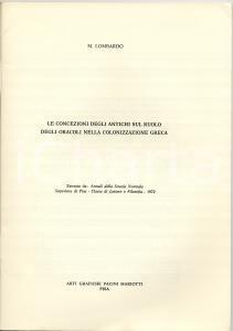 1972 Mario LOMBARDO Oracoli nella colonizzazione greca