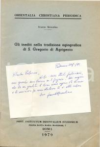 1979 Erasmo MERENDINO Inediti San GREGORIO di Agrigento
