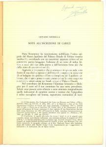 1973 Giovanni MENNELLA Nota all'iscrizione di CARICE