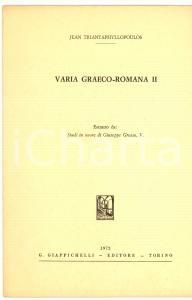 1972 Jean TRIANTAPHYLLOPOULOS Varia Graeco-Romana II