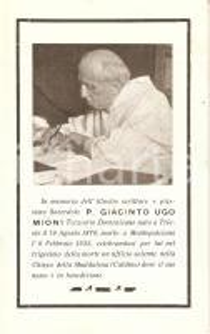 1935 In memoria di P. GIACINTO UGO MIONI Santino