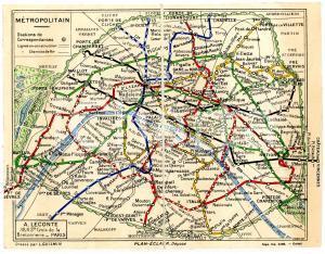 1930 ca PARIS Map Metropolitain - Papeterie GOUILLET 18x14 cm RARE