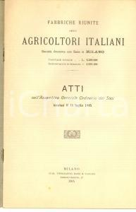 1905 MILANO Assemblea Fabbriche AGRICOLTORI ITALIANI