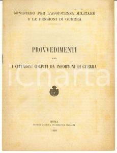 1919 WW1 Pro cittadini colpiti da infortuni di guerra