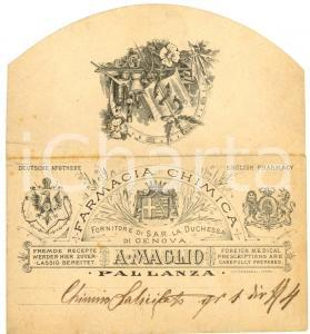 1910 VERBANIA PALLANZA Busta farmacia A. MAGLIO RARA