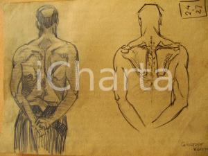 1927 Giuseppe MARETTO Studio schiena maschile AUTOGRAFO