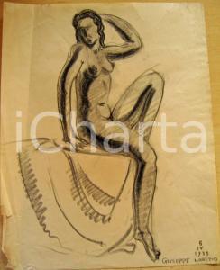 1933 Giuseppe MARETTO Nudo di donna AUTOGRAFO