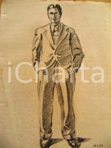 1934 Giuseppe MARETTO Uomo in giacca e cravatta AUTOGR.