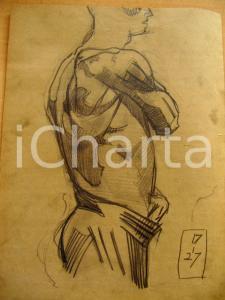 1927 Giuseppe MARETTO Profilo di figura maschile AUTOG.